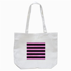 Stripes2 Black Marble & Pink Colored Pencil Tote Bag (white) by trendistuff