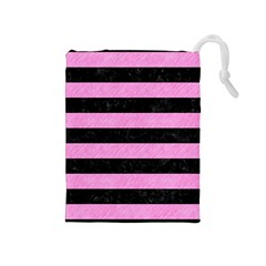 Stripes2 Black Marble & Pink Colored Pencil Drawstring Pouches (medium)  by trendistuff