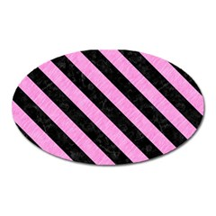 Stripes3 Black Marble & Pink Colored Pencil Oval Magnet by trendistuff