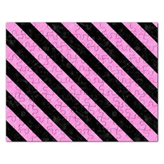 Stripes3 Black Marble & Pink Colored Pencil Rectangular Jigsaw Puzzl by trendistuff