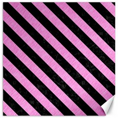Stripes3 Black Marble & Pink Colored Pencil Canvas 16  X 16   by trendistuff