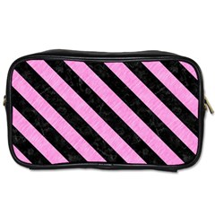 Stripes3 Black Marble & Pink Colored Pencil Toiletries Bags 2 Side by trendistuff