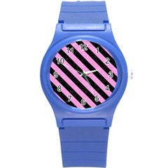 Stripes3 Black Marble & Pink Colored Pencil Round Plastic Sport Watch (s) by trendistuff