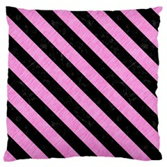 Stripes3 Black Marble & Pink Colored Pencil Large Cushion Case (two Sides) by trendistuff