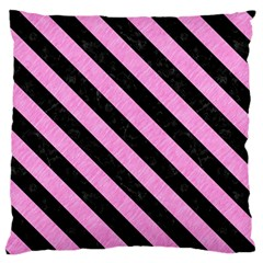 Stripes3 Black Marble & Pink Colored Pencil Large Flano Cushion Case (two Sides) by trendistuff
