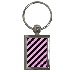 Stripes3 Black Marble & Pink Colored Pencil (r) Key Chains (rectangle)  by trendistuff