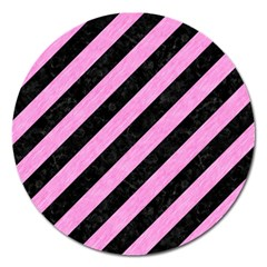Stripes3 Black Marble & Pink Colored Pencil (r) Magnet 5  (round) by trendistuff