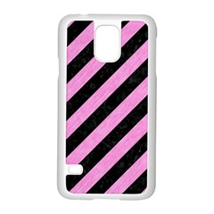Stripes3 Black Marble & Pink Colored Pencil (r) Samsung Galaxy S5 Case (white) by trendistuff