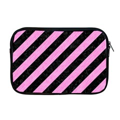 Stripes3 Black Marble & Pink Colored Pencil (r) Apple Macbook Pro 17  Zipper Case by trendistuff