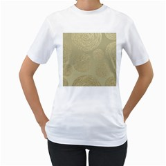 Modern, Gold,polka Dots, Metallic,elegant,chic,hand Painted, Beautiful,contemporary,deocrative,decor Women s T Shirt (white) (two Sided)