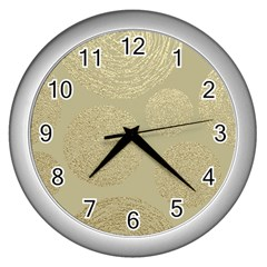 Modern, Gold,polka Dots, Metallic,elegant,chic,hand Painted, Beautiful,contemporary,deocrative,decor Wall Clocks (silver)