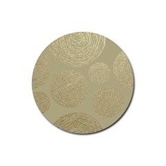 Modern, Gold,polka Dots, Metallic,elegant,chic,hand Painted, Beautiful,contemporary,deocrative,decor Rubber Coaster (round)