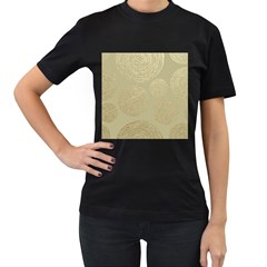 Modern, Gold,polka Dots, Metallic,elegant,chic,hand Painted, Beautiful,contemporary,deocrative,decor Women s T Shirt (black) (two Sided)