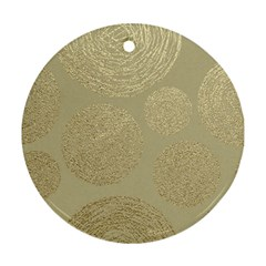 Modern, Gold,polka Dots, Metallic,elegant,chic,hand Painted, Beautiful,contemporary,deocrative,decor Round Ornament (two Sides)
