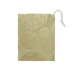 Modern, Gold,polka Dots, Metallic,elegant,chic,hand Painted, Beautiful,contemporary,deocrative,decor Drawstring Pouches (medium)