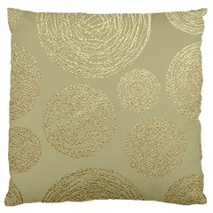 Modern, Gold,polka Dots, Metallic,elegant,chic,hand Painted, Beautiful,contemporary,deocrative,decor Large Flano Cushion Case (one Side) by 8fugoso