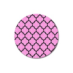Tile1 Black Marble & Pink Colored Pencil Magnet 3  (round) by trendistuff