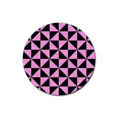 Triangle1 Black Marble & Pink Colored Pencil Rubber Round Coaster (4 Pack)