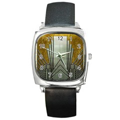Art Nouveau Gold Silver Square Metal Watch by 8fugoso