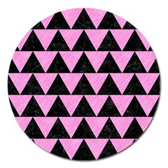 Triangle2 Black Marble & Pink Colored Pencil Magnet 5  (round) by trendistuff