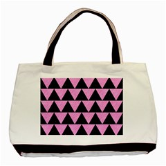 Triangle2 Black Marble & Pink Colored Pencil Basic Tote Bag (two Sides) by trendistuff