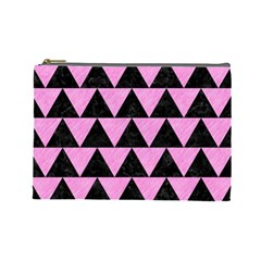 Triangle2 Black Marble & Pink Colored Pencil Cosmetic Bag (large)  by trendistuff