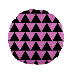 Triangle2 Black Marble & Pink Colored Pencil Standard 15  Premium Round Cushions by trendistuff