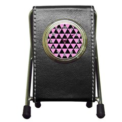 Triangle3 Black Marble & Pink Colored Pencil Pen Holder Desk Clocks by trendistuff