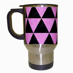 Triangle3 Black Marble & Pink Colored Pencil Travel Mugs (white) by trendistuff