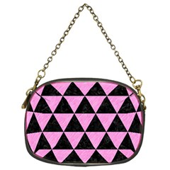 Triangle3 Black Marble & Pink Colored Pencil Chain Purses (one Side)  by trendistuff