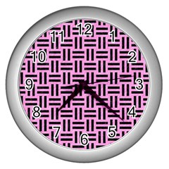 Woven1 Black Marble & Pink Colored Pencil Wall Clocks (silver)  by trendistuff