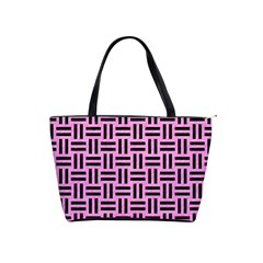 Woven1 Black Marble & Pink Colored Pencil Shoulder Handbags by trendistuff