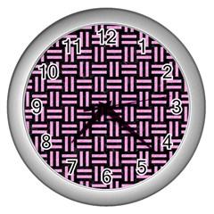 Woven1 Black Marble & Pink Colored Pencil (r) Wall Clocks (silver)  by trendistuff