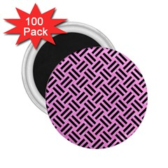 Woven2 Black Marble & Pink Colored Pencil 2 25  Magnets (100 Pack)  by trendistuff