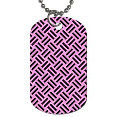 Woven2 Black Marble & Pink Colored Pencil Dog Tag (two Sides) by trendistuff