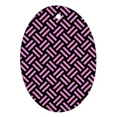 Woven2 Black Marble & Pink Colored Pencil (r) Oval Ornament (two Sides) by trendistuff