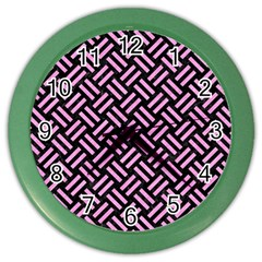 Woven2 Black Marble & Pink Colored Pencil (r) Color Wall Clocks by trendistuff
