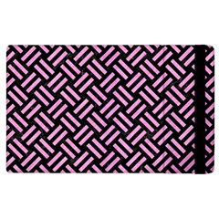 Woven2 Black Marble & Pink Colored Pencil (r) Apple Ipad 2 Flip Case by trendistuff