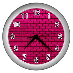 Brick1 Black Marble & Pink Leather Wall Clocks (silver)  by trendistuff