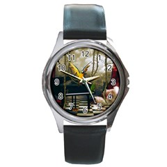 Funny Parrots In A Fantasy World Round Metal Watch by FantasyWorld7