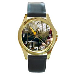 Funny Parrots In A Fantasy World Round Gold Metal Watch by FantasyWorld7