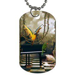 Funny Parrots In A Fantasy World Dog Tag (one Side) by FantasyWorld7