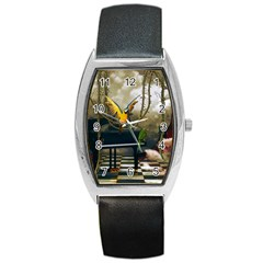 Funny Parrots In A Fantasy World Barrel Style Metal Watch by FantasyWorld7