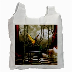Funny Parrots In A Fantasy World Recycle Bag (one Side) by FantasyWorld7