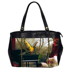 Funny Parrots In A Fantasy World Office Handbags (2 Sides)  by FantasyWorld7