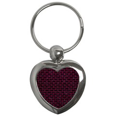 Brick1 Black Marble & Pink Leather (r) Key Chains (heart)  by trendistuff