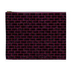 Brick1 Black Marble & Pink Leather (r) Cosmetic Bag (xl) by trendistuff