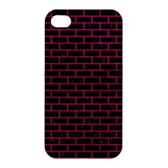 Brick1 Black Marble & Pink Leather (r) Apple Iphone 4/4s Hardshell Case by trendistuff