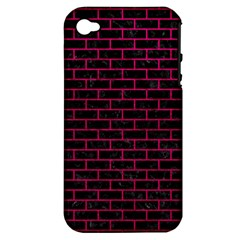 Brick1 Black Marble & Pink Leather (r) Apple Iphone 4/4s Hardshell Case (pc+silicone) by trendistuff