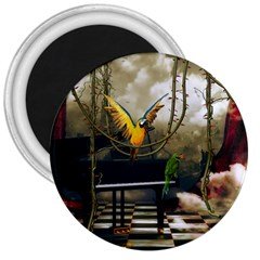 Funny Parrots In A Fantasy World 3  Magnets by FantasyWorld7
